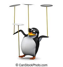 divertimento, piastre, pinguino, 3d, bilanci