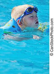 divertimento, piscina, natação