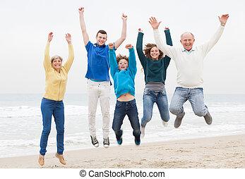 divertimento, possedere, vacanza, famiglia, felice