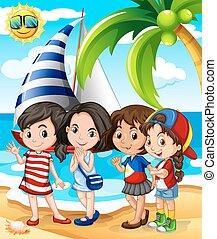 divertimento, praia, meninas, tendo