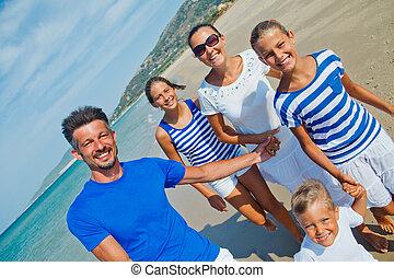 divertimento, praia, tendo, família
