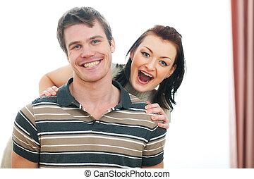 divertimento, retrato, par, jovem, tendo