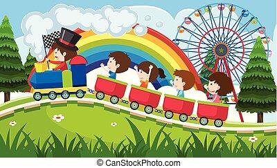 divertimento, sentiero per cavalcate, treno, parco, bambini