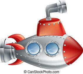 divertimento, sottomarino, cartone animato
