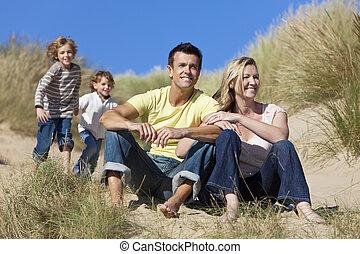 divertimento, spiaggia, detenere, famiglia, seduta