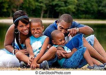 divertimento, tendo, família, africano