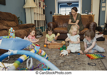 divertimento, tendo, tocando, brinquedos