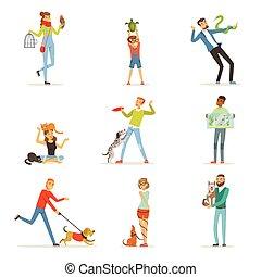 divertimento, treinamento, crianças, pessoas, animais estimação, tendo, seu, vetorial, animais estimação, ilustrações, feliz, homem, tocando, mulheres