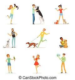 divertimento, treinamento, pessoas, animais estimação, feliz, tendo, seu, vetorial, animais estimação, ilustrações, homem, tocando, mulheres