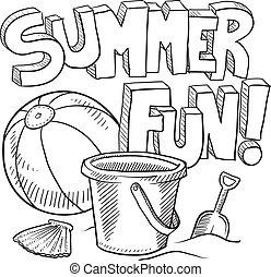 divertimento, verão, esboço