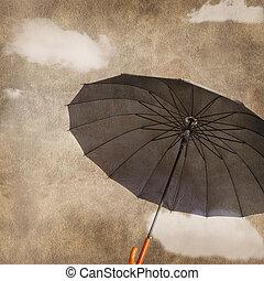 divertimento, volare, ombrello, su, grungy, fondo, con, nubi