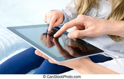 divertissement, à, tablette numérique