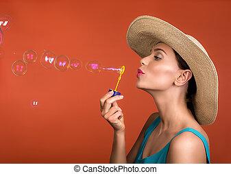 divertissement, bulles, femme, attirant