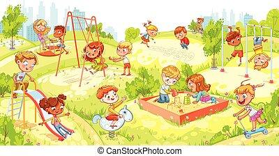 divertissement, diapositives, enfants, complexe, carrousel, sandbox, balançoire