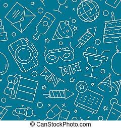 divertissement, pattern., seamless, textile, anniversaire, conception, fond, fête, amusement, jeux, événement, projets, célébration