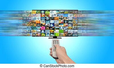 divertissement, tv, multimédia, ruisseler, internet, intelligent