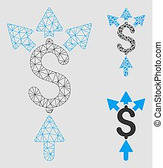 Divide Payment Vector Mesh Wire Frame Model and Triangle Mosaic Icon