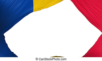 Divided Chad flag, white background, 3d rendering