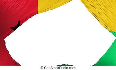Divided Guinea Bissau flag, white background, 3d rendering