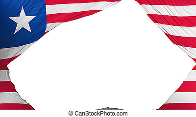 Divided Liberia flag, white background, 3d rendering