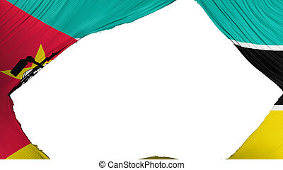 Divided Mozambique flag, white background, 3d rendering