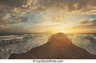 The oceans are divided and leaving a narrow strip of sand.