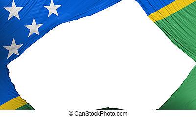 Divided Solomon Islands flag, white background, 3d rendering