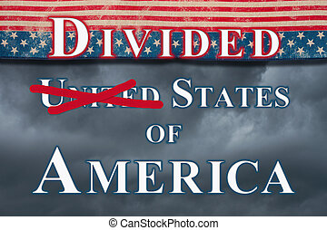 Divided United States of America type message with retro USA stars and stripes burlap ribbon