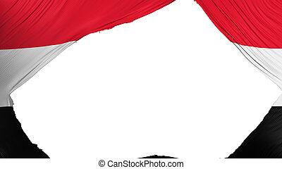 Divided Yemen flag, white background, 3d rendering