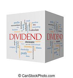 Dividend 3D cube Word Cloud Concept