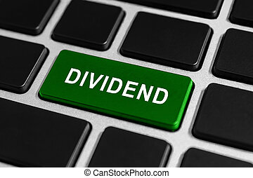 dividend green button on keyboard, business concept