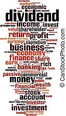 Dividend-vertical.eps - Dividend word cloud concept. Vector...
