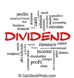 dividend, woord, wolk, concept, in, rood, beslag