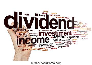 dividend, woord, wolk