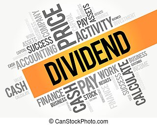 Dividend word cloud collage, business concept background
