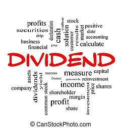 Dividend Word Cloud Concept in red caps