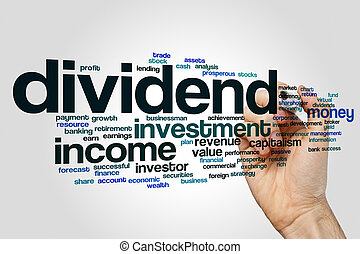 Dividend word cloud concept on grey background