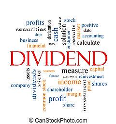 dividende, concept, mot, nuage