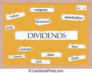 dividendo, corkboard, palavra, conceito