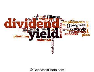 dividendo, palavra, rendimento, nuvem
