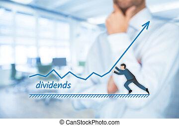 Dividends increase - Increase dividends concept. Shareholder...