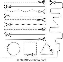 dividers., elementos, silhuetas, vetorial, desenho, tesouras