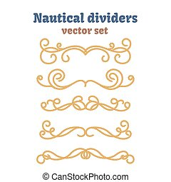Dividers set. Nautical ropes. Decorative vector knots. Ornamental decor elements with rope.