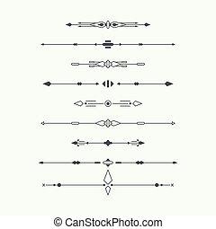 Dividers vector set isolated. Geometric horizontal vintage ...
