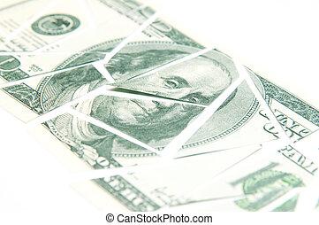 dividido, billete de banco