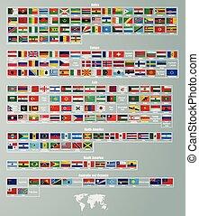 dividido, partes, bandeiras, países