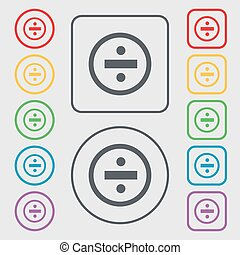 dividing icon sign. Symbols on the Round and square buttons with frame. Vector