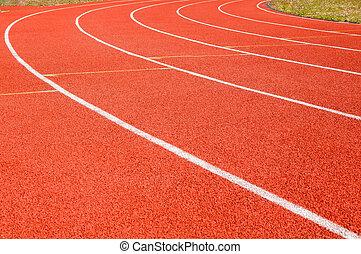 dividing line running track at the stadium