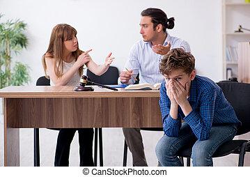 dividir, divorcing, tratar, familia , custodia del niño