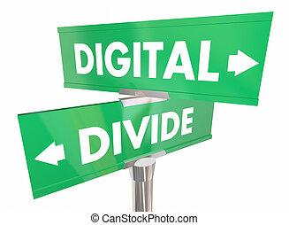dividir, señales, dos, digital, separación, acceso a ...